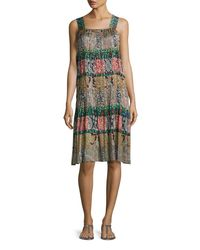 Oscar de la Renta | Black Mixed-print Silk Day Dress | Lyst