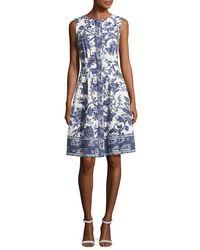Oscar de la Renta | Blue Sleeveless Toile-print Cotton Dress | Lyst
