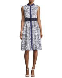 Oscar de la Renta | Blue Sleeveless Cotton Eyelet A-line Dress | Lyst