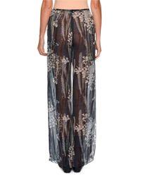 Giorgio Armani - Multicolor Floral Wide-leg Silk Pants - Lyst