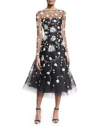 Oscar de la Renta | Black Embroidered Illusion Tulle Midi Dress | Lyst