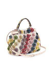 Fendi - Multicolor Peekaboo Mini Floral Canvas Satchel Bag - Lyst