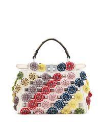Fendi | Multicolor Peekaboo Mini Floral Canvas Satchel Bag | Lyst