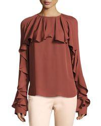 Veronica Beard   Orange Mia Long-sleeve Silk Ruffle Blouse   Lyst