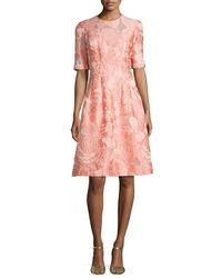 Lela Rose | Pink Holly Floral Fil Coupe Half-sleeve Dress | Lyst