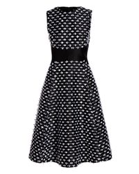 Lela Rose - Black Juliet Cut-fringe Sleeveless Satin Dress - Lyst