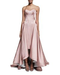 Zac Posen | Pink Strapless Pleated High-low Gown | Lyst