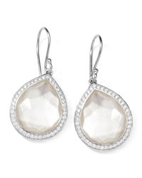 Ippolita | Metallic Stella Teardrop Earrings In Mother-of-pearl Doublet With Diamonds | Lyst