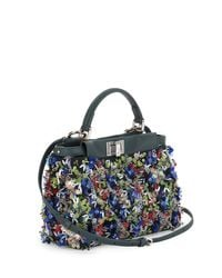 Fendi | Blue Peekaboo Small Floral Sequin Satchel Bag | Lyst