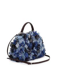 Fendi - Blue Peekaboo Small Denim Flowers Satchel Bag - Lyst