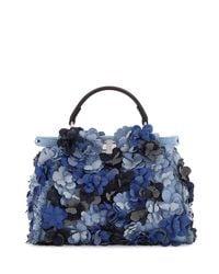 Fendi | Blue Peekaboo Small Denim Flowers Satchel Bag | Lyst