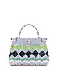 Fendi - Multicolor Peekaboo Small Raffia Satchel Bag - Lyst