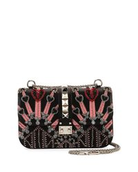 Valentino | Black Lock Medium Beaded Love Blade Leather Chain Shoulder Bag | Lyst