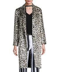 Nina Ricci | Black Leopard-print Three-button Coat | Lyst