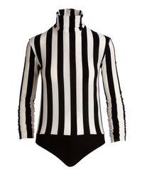 Nina Ricci - Black Striped Turtleneck Bodysuit - Lyst