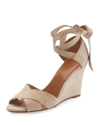 Aquazzura | Multicolor Tarzan Suede Ankle-wrap Wedge Sandal | Lyst
