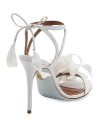 Aquazzura - White Floral Satin Bridal 105mm Sandal - Lyst