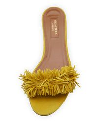 Aquazzura - Yellow Wild Thing Fringed Slide Sandal - Lyst
