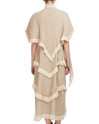 Loewe   Natural Tiered Fringe-trim Shawl Dress   Lyst