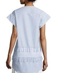 Cedric Charlier | Blue Short-sleeve Tassel-tier Blouse | Lyst