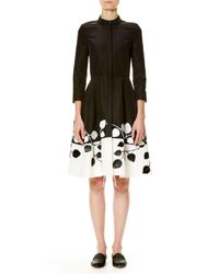 Carolina Herrera | Black 3/4-sleeve Two-tone Shirtdress | Lyst