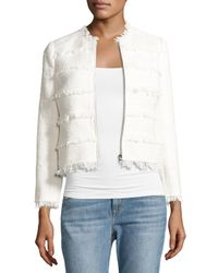 Rebecca Taylor | White Textured Tweed Jacket With Fringe | Lyst