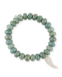 Sydney Evan | 10mm Blue Silverite Beaded Bracelet With Diamond Wing Charm | Lyst
