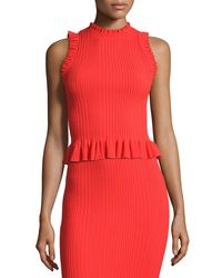 Rebecca Taylor | Red Sleeveless Ribbed Ruffle Top | Lyst