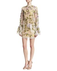 Rachel Gilbert | White Floral-embroidered Bell-sleeve Dress | Lyst