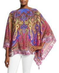 Etro | Pink Bold Paisley-print Silk Poncho | Lyst
