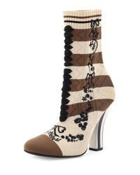 Fendi | Black Striped Knit Sock Bootie | Lyst