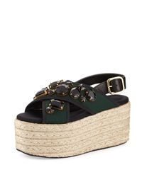 Marni | Green 60mm Jeweled Espadrille Flatform Sandal | Lyst