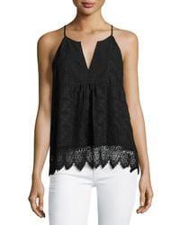 Joie | Black Ember Sleeveless Lace Top | Lyst