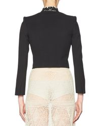 Alexander McQueen | Black Beaded Fringe Cropped Moto Jacket | Lyst