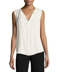 Theory | White Alamay Classic Georgette Sleeveless Split-neck Top | Lyst
