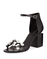 Alexander Wang | Black Abby Dome-studded Tilt-heel City Sandal | Lyst