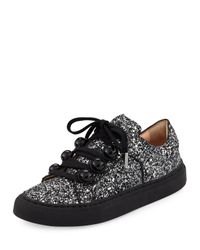 Carven | Gray Glitter Dome-studded Low-top Sneakers | Lyst
