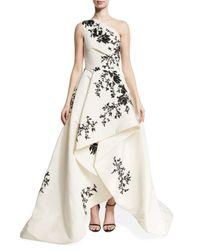 Monique Lhuillier | White One-shoulder High-low Draped Gown | Lyst