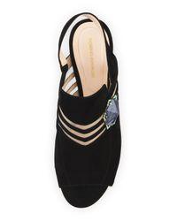 Nicholas Kirkwood | Black Camille Suede Ornament Slingback Sandal | Lyst