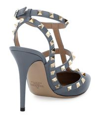 Valentino - Blue Rockstud Leather 100mm Pump - Lyst