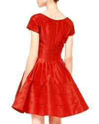 Zac Posen - Red Flounce-skirt Taffeta Dress - Lyst