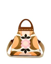 Miu Miu - Multicolor Floral-print Wooden Top-handle Bag - Lyst