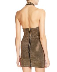Balmain - Black Studded Illusion Halter Dress - Lyst