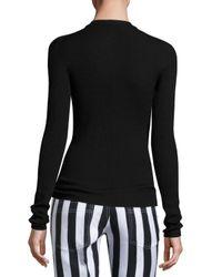 Nina Ricci - Black Ribbed Knit Tie-neck Sweater - Lyst