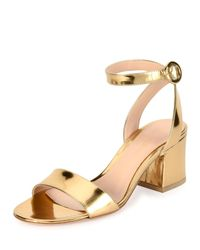Gianvito Rossi | Metallic Ankle-strap City Sandal | Lyst