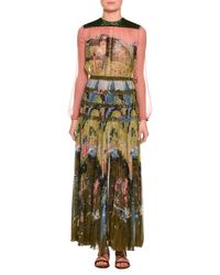 Valentino | Multicolor Garden Of Delight Printed Long-sleeve Gown | Lyst