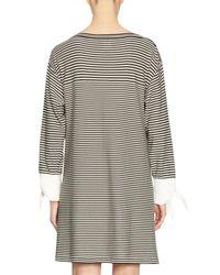 Chloé - Black Striped Tie-cuff Shift Dress - Lyst