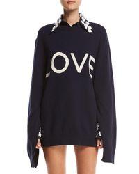 Michael Kors | Blue Love Oversized Crewneck Sweater | Lyst