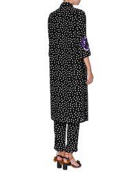 Dolce & Gabbana | Black Long Embellished Polka Dot Tunic Blouse | Lyst