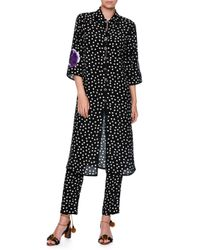 Dolce & Gabbana | Black Long Embellished Polka Dot Tunic Blouse | Lyst